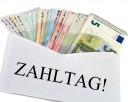 Zahltag! Geldscheine im Briefumschlag
