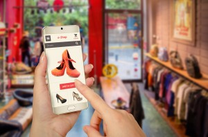 online shopping with smart phone in woman hand