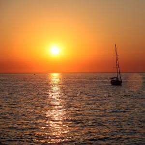Kreuzfahrt, Schiff, Sonnenuntergang, Meer, fotolia