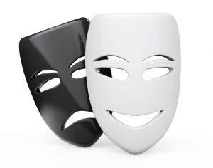 Tragicomic Theater Masks. Sad and Smile masks on a white background