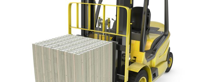 Yellow fork lift truck moves stacked dollars, isolated on white background