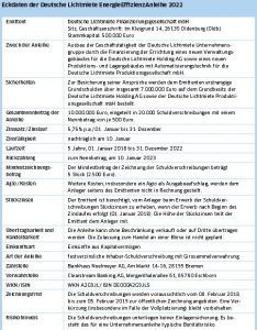 Deutsche Lichtmiete Anleihe-Fact Sheet