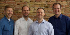 mentavio-Gründerteam (v.l.n.r.): Uwe Kampschulte, Dipl.-Psych. Benjamin Uebel, Thomas Kruse und Daniel Bosch